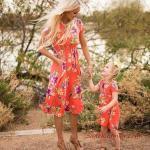 2019 Anne Kız Kıyafetleri Turuncu Dizboyu Kısa Kollu Çiçek Desenli Elbise