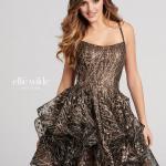 2019 Ellie Wilde Kısa Abiye Modelleri Kahverengi İp Askılı Kloş Etekli Desenli