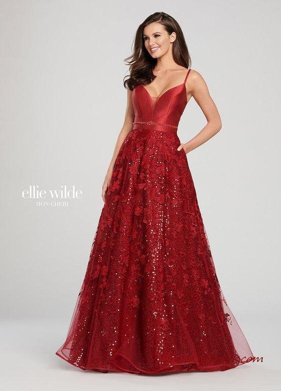 2019 Ellie Wilde Uzun Abiye Modelleri Kırmızı İp Askılı Cepli Pul İşlemeli