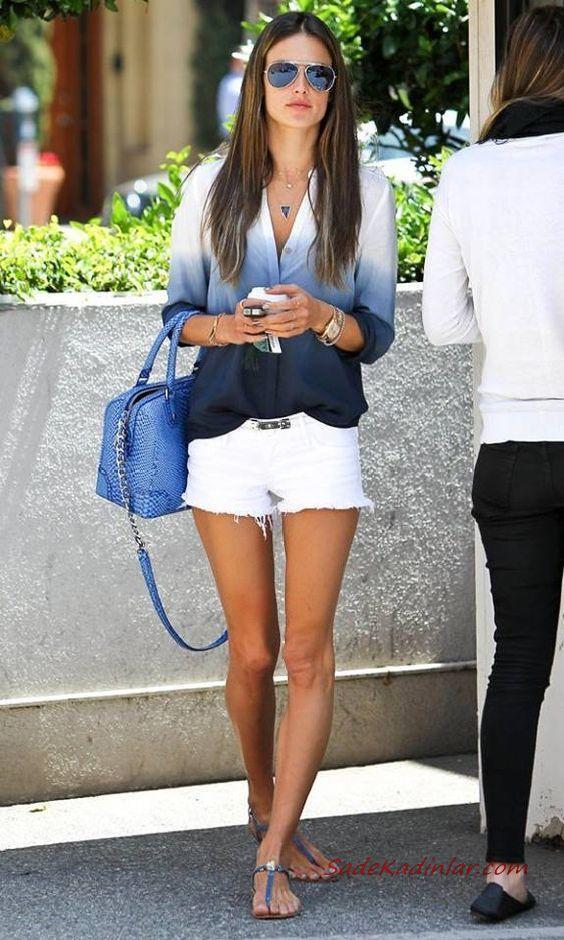 2019 Yazlık Kombinler Beyaz Kısa Şort Lacivert Uzun Kollu Ombre Gömlek Parmak Arası Sandalet El Çantası