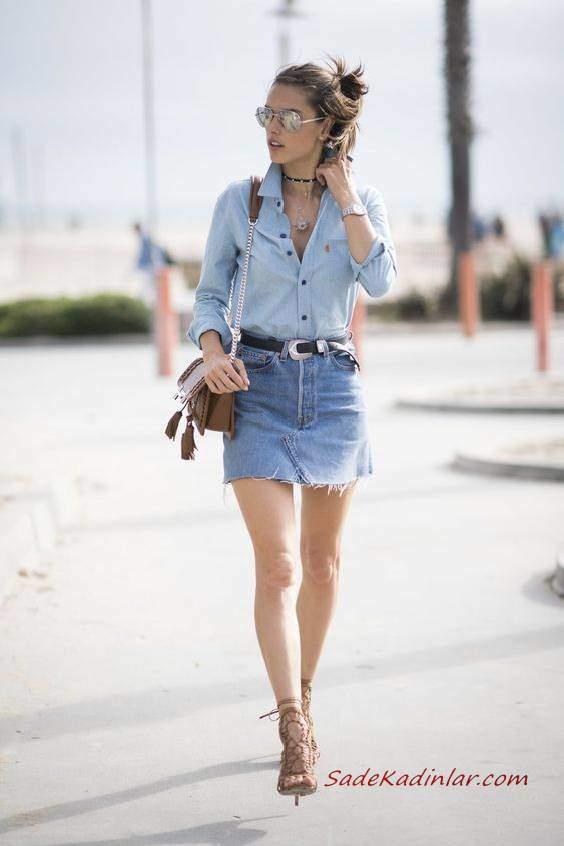 2019 Yazlık Kombinler Mavi Kısa Kot Etek Uzun Kollu Gömlek Krem Topuklu Ayakkabı ve Omuz Çantası