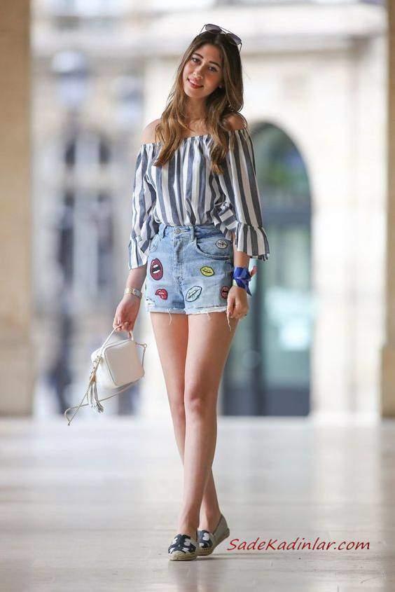 2019 Yazlık Kombinler Mavi Kısa Kot Şort Lacivet Omzu Açık Uzun Kollu Çizgili Bluz Desenli Babet Ayakkabı Beyaz El Çantası
