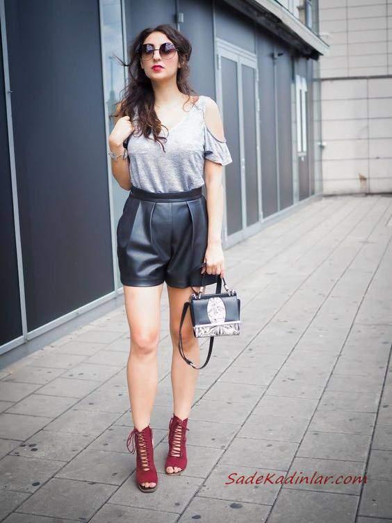 2020 Yazlık Kombinler Siyah Kısa Deri Şort Gri Kısa Kollu Bluz Bordo Stiletto Ayakkabı Siyah El Çantası