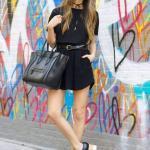 2019 Yazlık Kombinler Siyah Mini Cepli Etek Kısa Kollu Bluz Dolgu Topuk Ayakkabı El Çantası