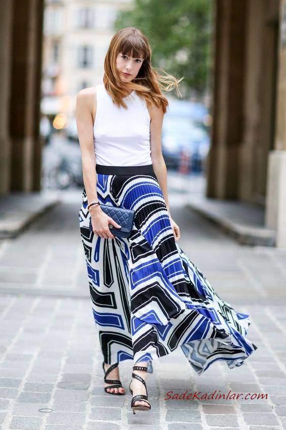 2019 Yazlık Kombinler Siyah Uzun Pileli Desenli Kloş Etek Beyaz Kolsuz Bluz Siyah Stiletto Ayakkabı ve El Çantası