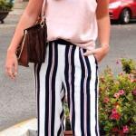 2019 Yazlık Kombinler Siyal Çizgili Bol Pantolon Pembe Askılı Bluz Kahverengi Sandalet Terlik