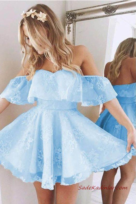 2020 Kısa Kloş Abiye Elbiseler Bebek Mavisi Straplez Düşük Kol Fırfırlı Yaka