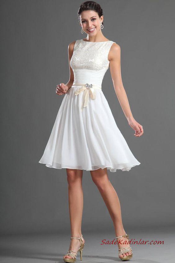 2019 Kısa Kloş Abiye Elbiseler Beyaz Kolsuz Kayık Yaka