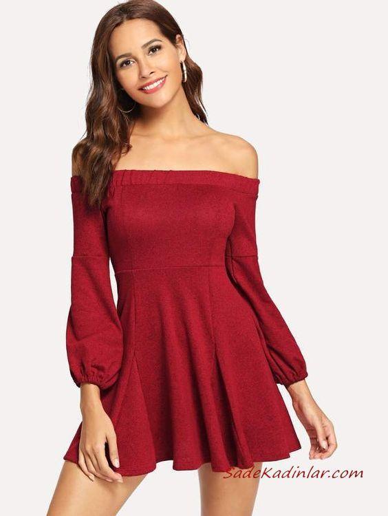2019 Kısa Kloş Abiye Elbiseler Kırmızı Uzun Kollu Omzu Açık