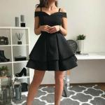 2020 Kısa Kloş Abiye Elbiseler Siyah Askılı Düşük Kol