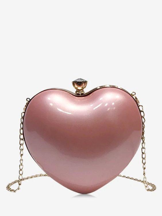 2020 Bayan Çanta Modelleri Pudra Kalp Şekilli Zincir Askılı