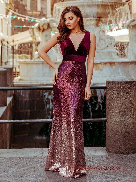 2020 En Trend Gece Elbiseleri ve Şık Abiyeler Bordo Uzun Askılı Derin V Yakalı Payetli