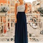 2020 En Trend Gece Elbiseleri ve Şık Abiyeler Lacivert Uzun Tek Askılı Tül Etekli