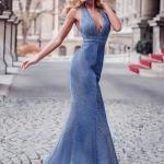 2020 En Trend Gece Elbiseleri ve Şık Abiyeler Mavi Uzun Askılı Sırt Dekolteli Kuyruklu