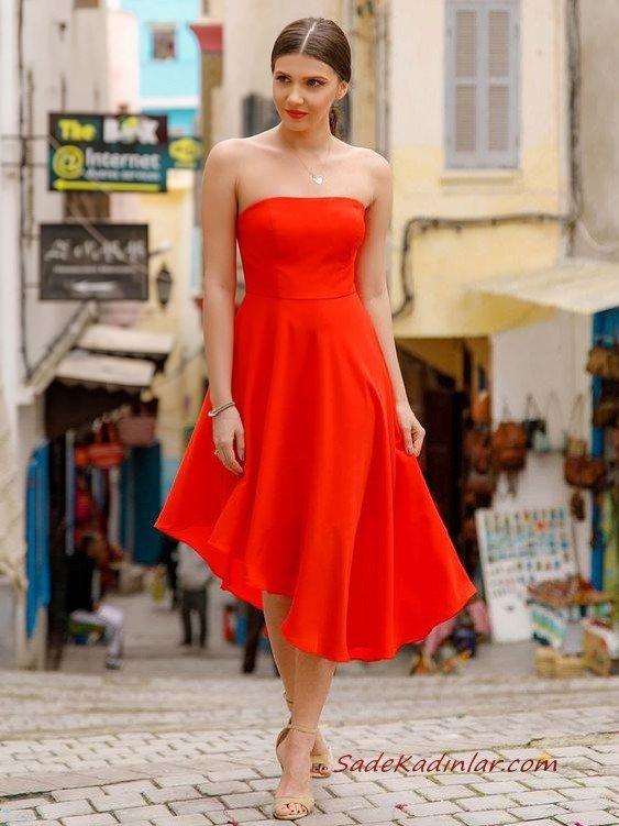 2020 En Trend Gece Elbiseleri ve Şık Abiyeler Nar Çiçeği Midi Straplez Asimetrik Etekli