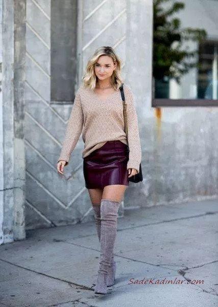 2020 En Trend Kış Kombinleri Bordo Mini Deri Etek Kahverengi Bluz Gri Nubuk Uzun Çizme