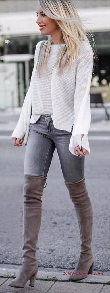 2020 En Trend Kış Kombinleri Gri Kot Pantolon Krem Kayık Yaka Kazak Gri Uzun Nubuk Çizme