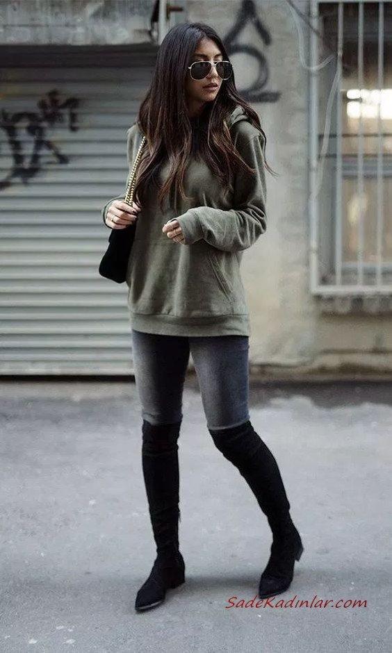 2020 En Trend Kış Kombinleri Gri Kot Pantolon Yeşil Sweartshirt Siyah Uzun Çizme