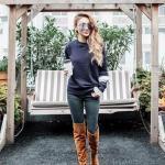 2020 En Trend Kış Kombinleri Lacivert Kot Pantolon Kazak Taba Uzun Nubuk Çizme