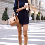 2020 En Trend Kış Kombinleri Lacivert Mini Boğazlı Triko Elbise Taba Nubuk Uzun Çizme