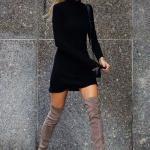 2020 En Trend Kış Kombinleri Siyah Mini Boğazlı Triko Elbise Gri Uzun Nubuk Topuklu Çizme