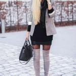 2020 En Trend Kış Kombinleri Siyah Mini Triko Elbise Gri Uzun Ceket Nubuk Topuklu Çorap Çizme