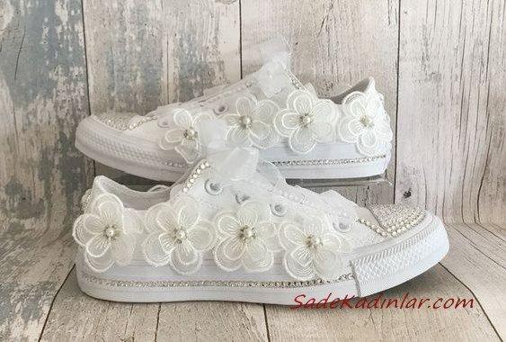2020 Gelin Spor Ayakkabı Modelleri Beyaz Converse Çiçek Aksesuarlı