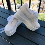 2020 Gelin Spor Ayakkabı Modelleri Beyaz Platform Topuklu Dantel