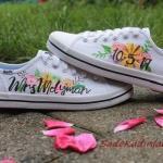 2020 Gelin Spor Ayakkabı Modelleri Beyaz Çiçek Baskılı Sneakers