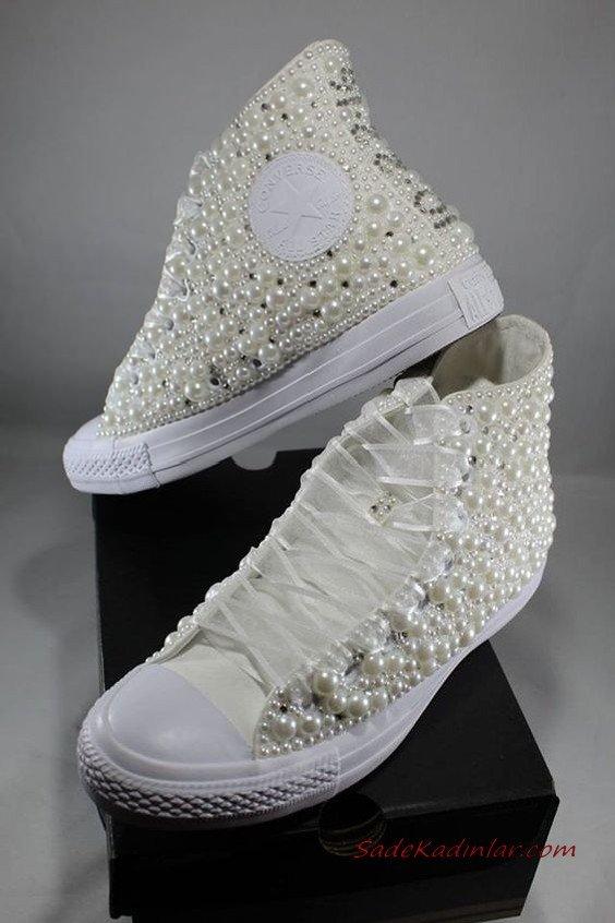2020 Gelin Spor Ayakkabı Modelleri Beyaz İnci Aksesuarlı Converse