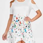 2021 Yazlık Elbise Modelleri Beyaz Mini Kısa Kollu Asimetrik Etekli Desenli