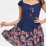2020 Yazlık Elbise Modelleri Lacivert Mini Japone Kollu Çiçek Desenli