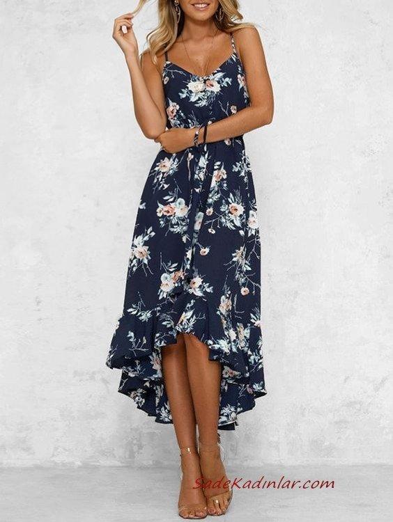 2020 Yazlık Elbise Modelleri Lacivert Önü Kısa Arkası Uzun Askılı Çiçek Desenli