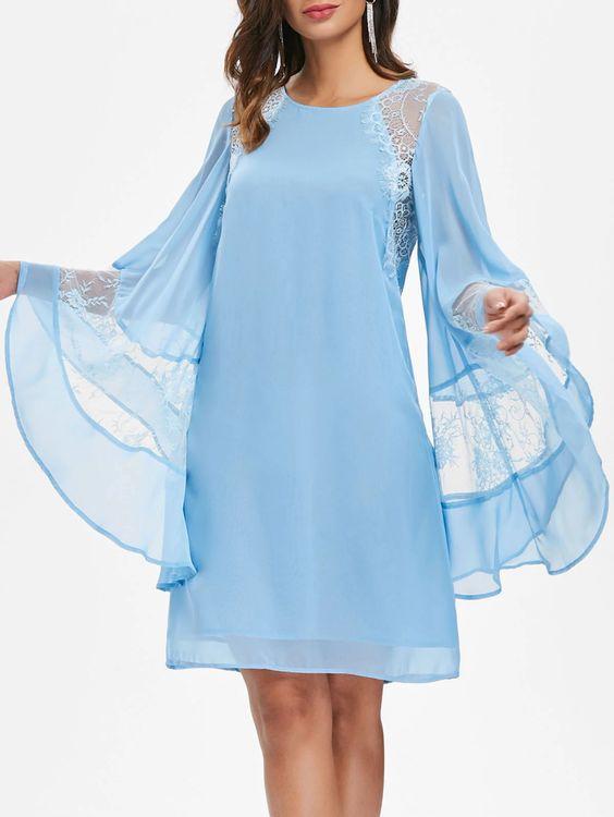 2020 Şifon Elbise Modelleri Bebek Mavisi Mini İspanyol Kollu