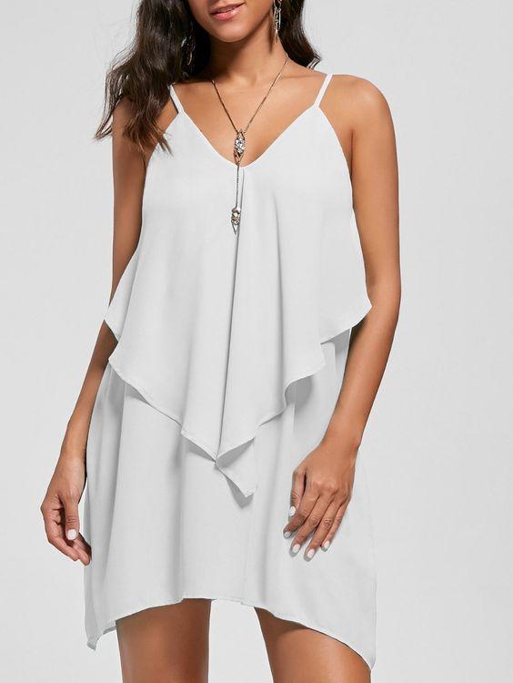 2020 Şifon Elbise Modelleri Beyaz Mini İp Askılı V Yakalı