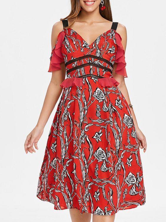 2020 Şifon Elbise Modelleri Kırmızı Dizaltı Askılı V Yakalı Desenli