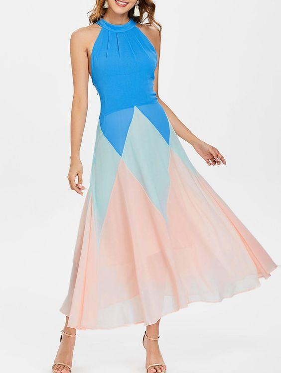 2020 Şifon Elbise Modelleri Mavi Midi Halter Yaka Renk Bloklu Kloş Etekli