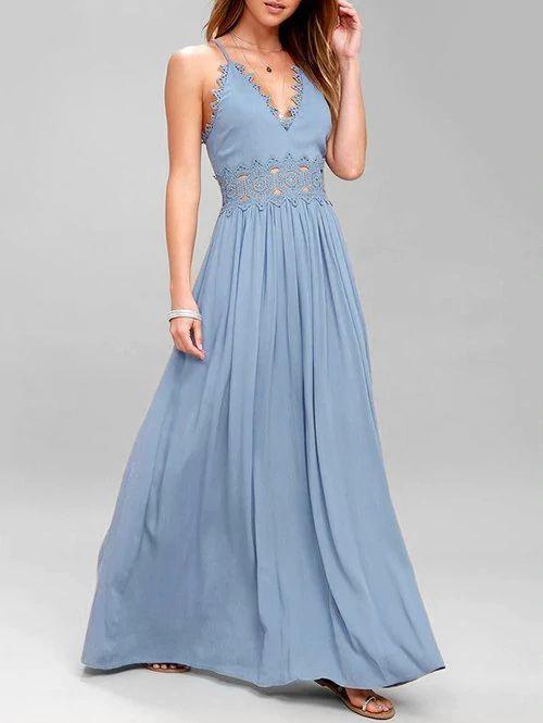2020 Şifon Elbise Modelleri Mavi Uzun İp Askılı V Yakalı Kloş Etekli