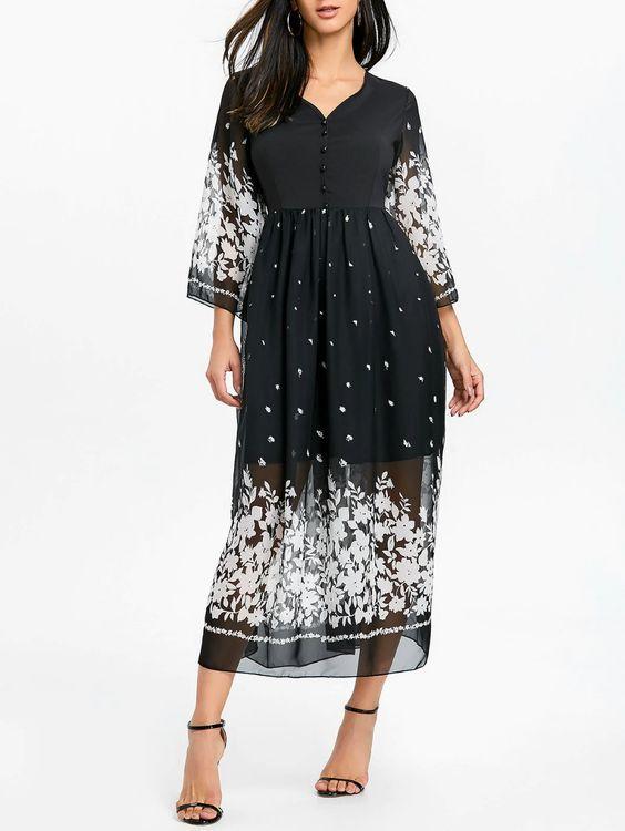2020 Şifon Elbise Modelleri Siyah Uzun Desenli Yetim Kollu