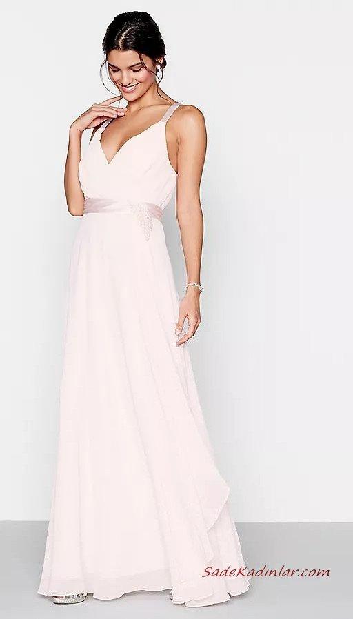 2020 Abiye Elbise Modelleri Beyaz Uzun Askılı V Yakalı