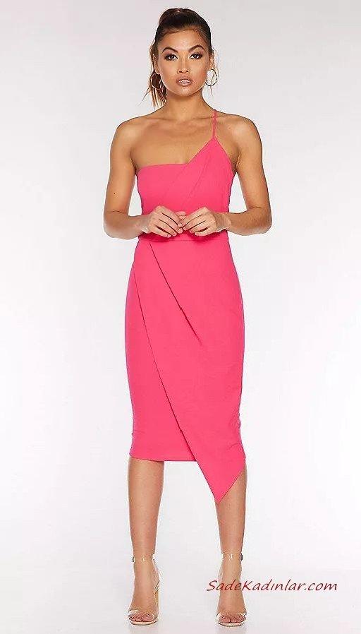 2020 Abiye Elbise Modelleri Pembe Dizboyu Tek Askılı Asimetrik Etekli