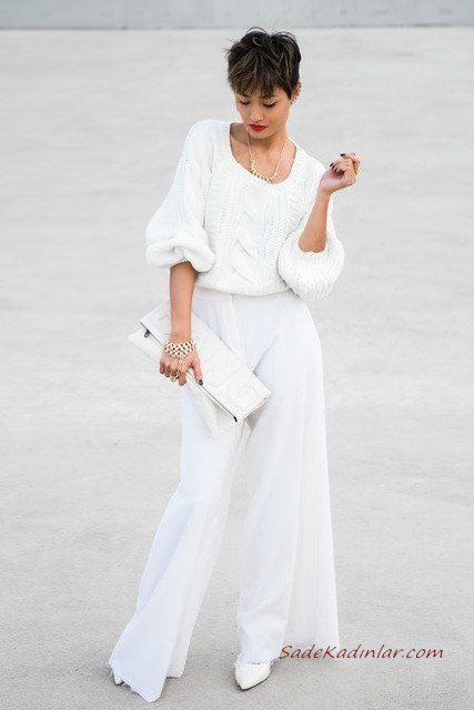 2020 Beyaz Kıyafet Kombinleri Beyaz Bol Kesim Pantolon Kazak Topuklu Ayakkabı El Çantası