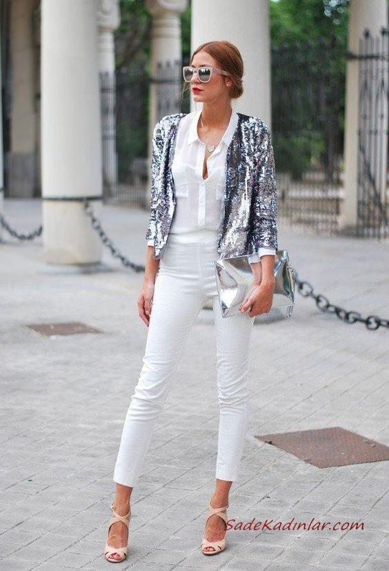 2020 Beyaz Kıyafet Kombinleri Beyaz Kalem PAntolon Gömlke Gümüş Payetli Ceket Krem Topuklu Ayakkabı Gümüş El Çantası