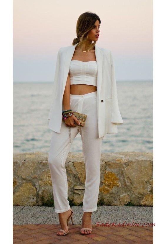 2020 Beyaz Kıyafet Kombinleri Beyaz Pantolon Büstiyer Uzun Ceket Vizon Stiletto Ayakkabı