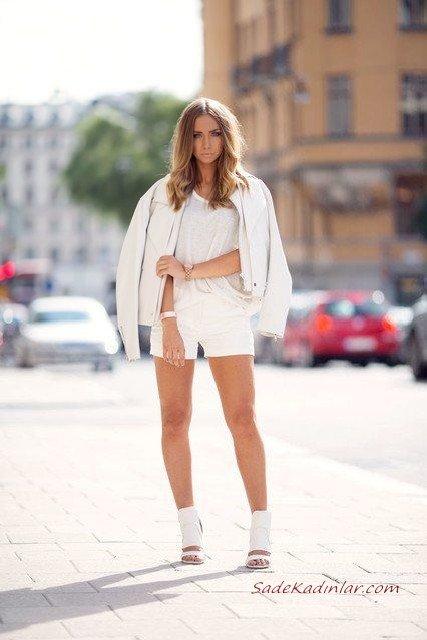 2020 Beyaz Kıyafet Kombinleri Beyaz Şort Kısa Kollu Bluz Kısa Deri Ceket Topuklu Ayakkabı