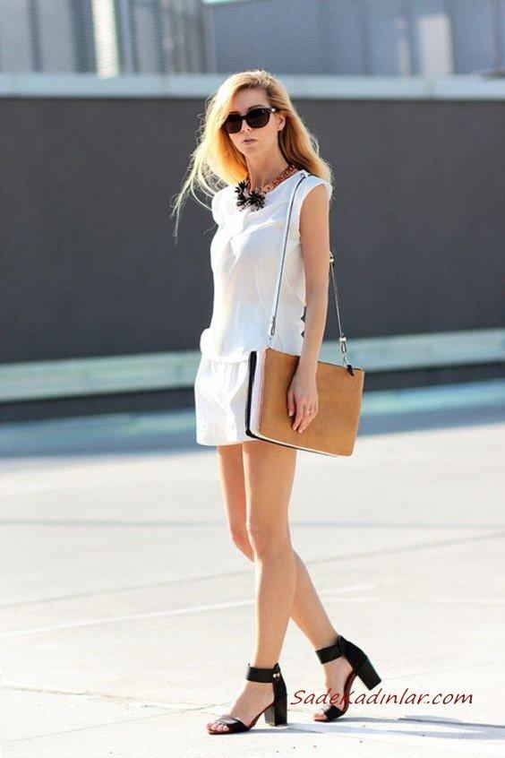 2020 Beyaz Kıyafet Kombinleri Beyaz Şort Kolsuz Bluz Siyah Topuklu Ayakkabı Taba Omuz Çantası