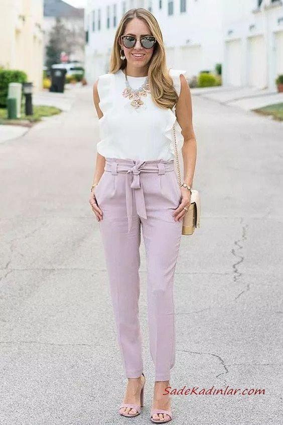 2020 En Şık İş Kıyafetleri Lila Cepli Kalem Pantolon Beyaz Kolsuz Bluz Lila Topuklu Ayakkabı