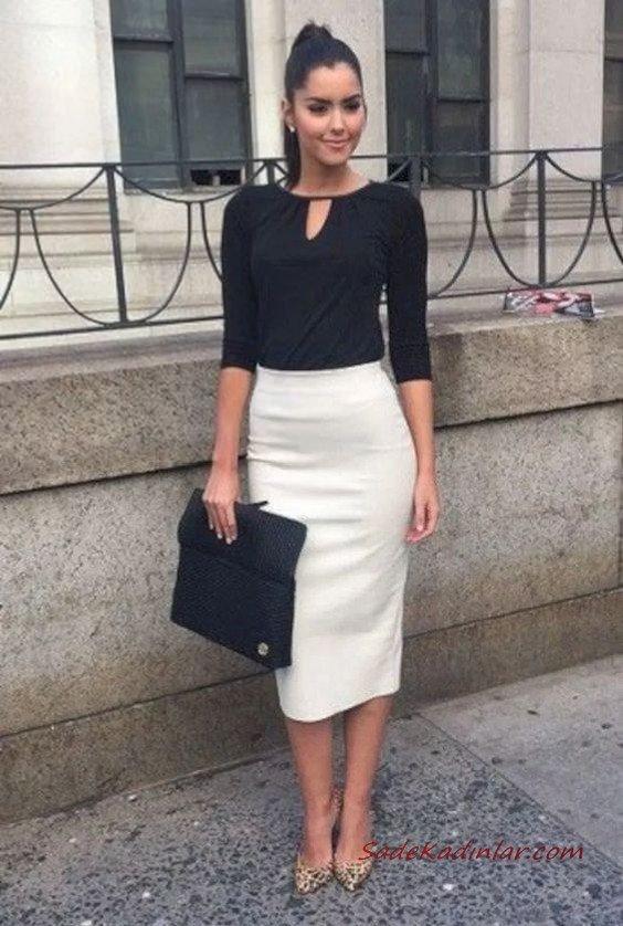 2020 Etek Bluz Kombinleri Beyaz Midi Etek Siyah Yetim Kol Bluz Leopar Desenli Topuklu Ayakkabı