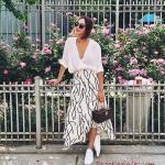 2020 Etek Bluz Kombinleri Beyaz Uzun Desenli Etek Yetim Kol V Yaka Bluz Beyaz Spor Ayakkabı