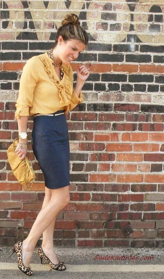 2020 Etek Bluz Kombinleri Lacivert Mini Etek Sarı V Yakalı Bluz Leopar Desenli Stiletto Ayakkabı